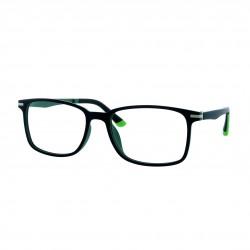 Monture ultra-légère noir mat/vert avec 2 clips solaires